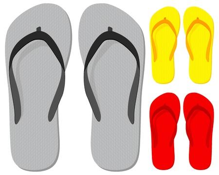 Flip-flop set on a white background. Vector illustration.