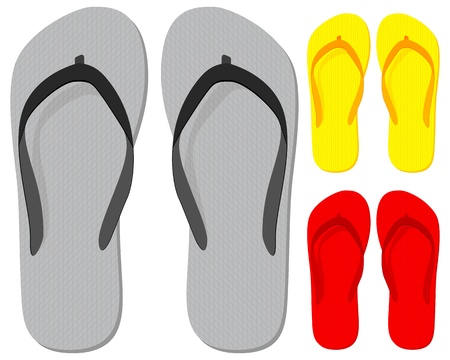 sandals: Flip-flop set on a white background. Vector illustration. Illustration