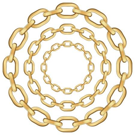 cadenas: Cadenas de oro c�rculo aisladas sobre fondo blanco. Ilustraci�n vectorial. Vectores