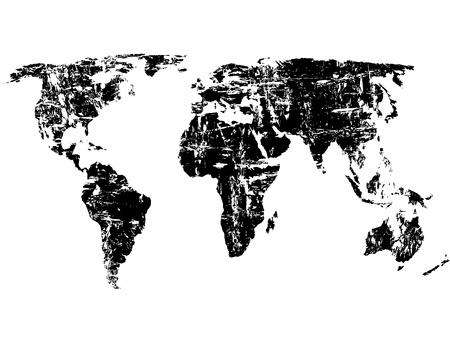 Zwarte grunge wereldkaart op een witte achtergrond. Vector illustratie.