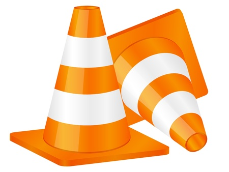 road work: Traffic cones isolated on a white background. Vector illustration.