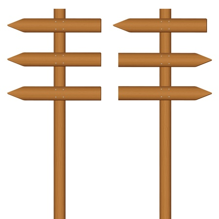 wooden post: Wooden sign post on a white background. Vector illustration.