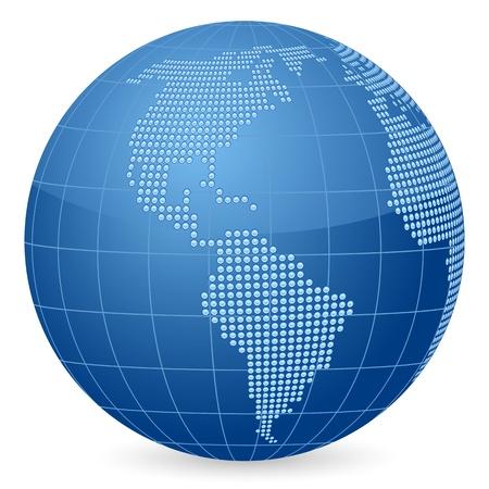 Globo Mundial formado por puntos. Ilustración vectorial.