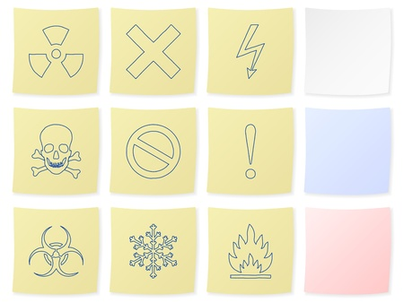 Warning icon set on a white background. Vector illustration. Stock Vector - 9462919