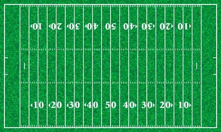 football play: Campo di football americano con texture di erba. Illustrazione vettoriale.