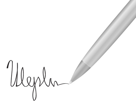 Ballpoint pen and signature on a white background. Vector illustration. Stock Vector - 9517197