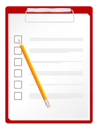 clipboard: Checklist on clipboard with pencil. Vector illustration.