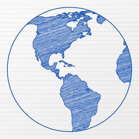ink sketch: Globo di mondo di disegno su un foglio di blocco note. Illustrazione vettoriale.