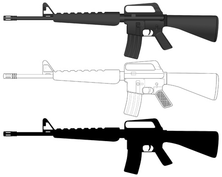 carbine: M16 set on a white background. Vector illustration.