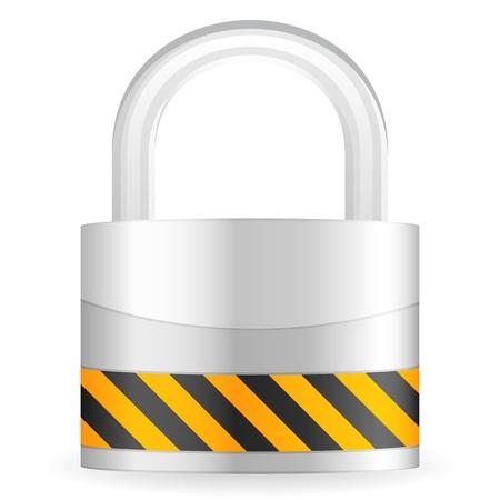 travar: Metal padlock isolated on a white background. Vector illustration. Ilustra��o