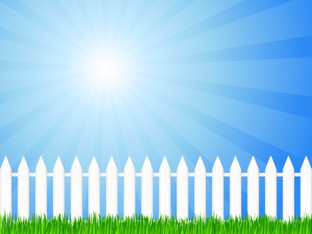 dramatic sky: White wooden fence and green grass under dramatic sky. Vector illustration.