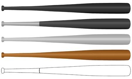 Conjunto de bate de béisbol aislado en un fondo blanco. Ilustración vectorial.