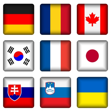Square national flags set on a white background. Vector illustration. Vector