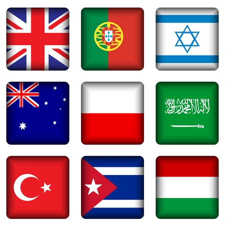 Square national flags set on a white background. Vector illustration.