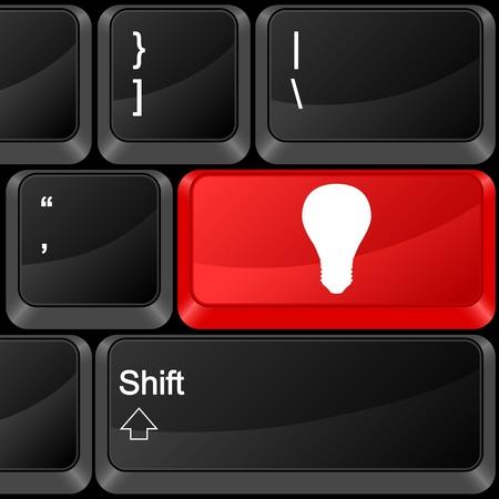 Keyboard computer button bulb. Vector illustration. Stock Vector - 9637630