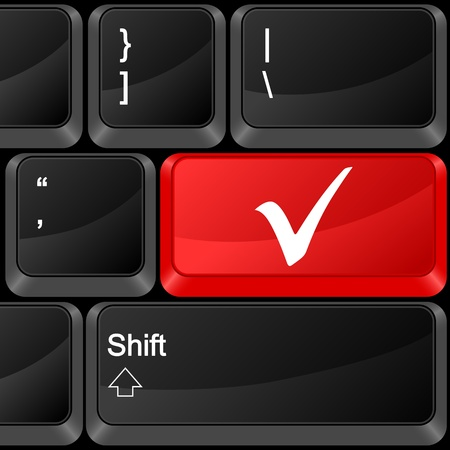 Keyboard computer button check symbol. Vector illustration. Vector
