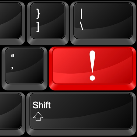 Keyboard computer button exclamation mark. Vector illustration. Stock Vector - 9637604