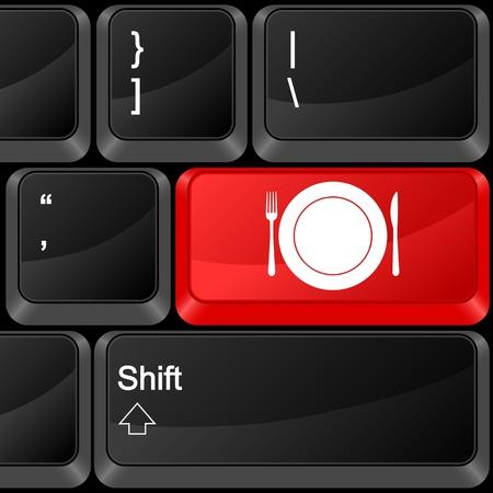 Keyboard computer button food. Vector illustration. Stock Vector - 9637636