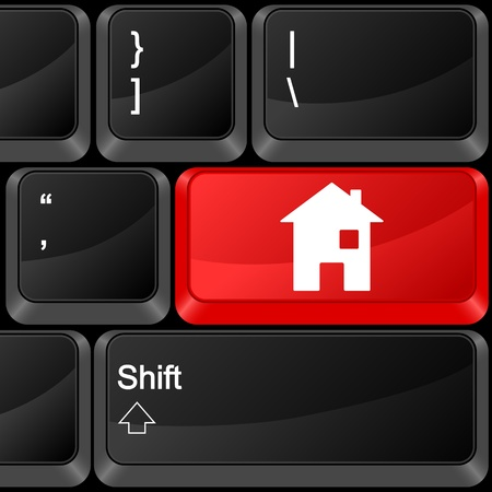 Keyboard computer button house. Vector illustration. Stock Vector - 9637612