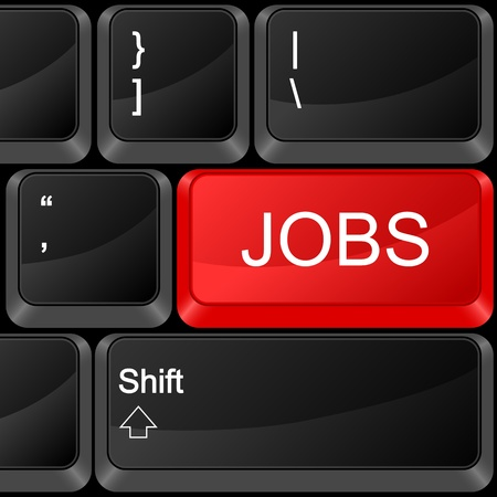 qwerty: Keyboard computer button jobs. Vector illustration.