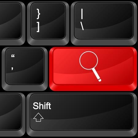 Keyboard computer button magnifier. Vector illustration. Stock Vector - 9637606