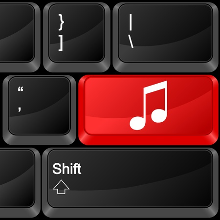 note pc: Keyboard computer button music. Vector illustration.