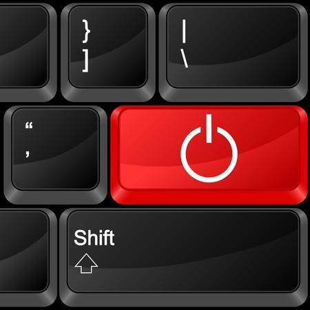 Keyboard computer button power. Vector illustration. Stock Vector - 9637619