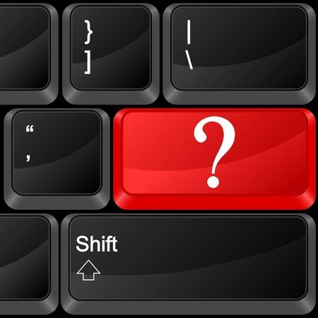 interrogative: Keyboard computer button question. Vector illustration.