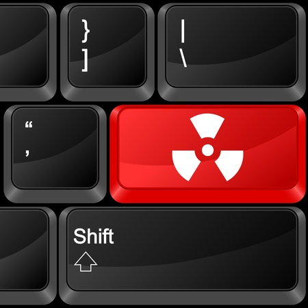 Keyboard computer button radiation sign. Vector illustration. Stock Vector - 9637607