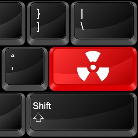 radiation sign: Keyboard computer button radiation sign. Vector illustration.