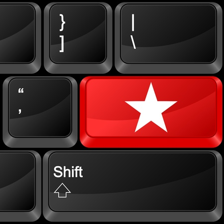 Keyboard computer button star. Vector illustration. Stock Vector - 9637600