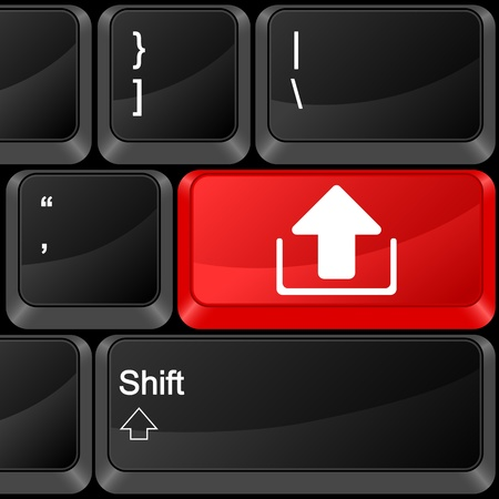 Keyboard computer button upload. Vector illustration. Stock Vector - 9637610