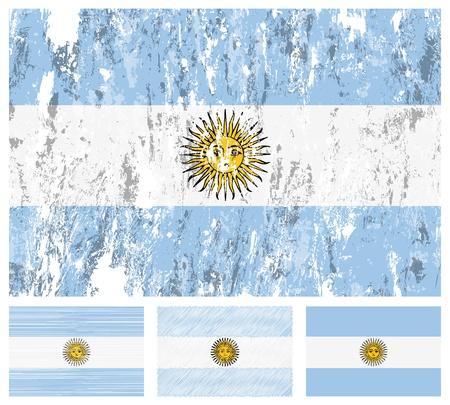 argentina flag: Argentina grunge flag set on a white background.
