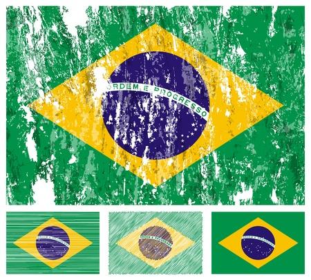 Brazil grunge flag set on a white background.