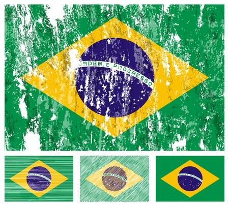 brazil country: Brazil grunge flag set on a white background.