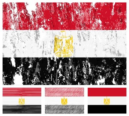 Egypt grunge flag set on a white background.  Vector