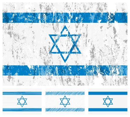 Israel grunge flag set on a white background. Stock Vector - 9689918