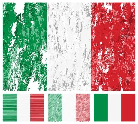 Bandera de grunge de Italia en un fondo blanco.