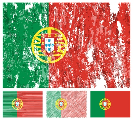 Portugal grunge flag set on a white background.  Vector