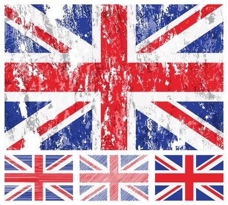 United kingdom grunge flag set on a white background. Stok Fotoğraf - 9690016