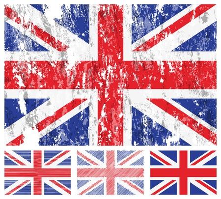 british flag: United kingdom grunge flag set on a white background.