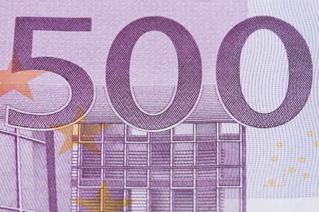 Five hundred euro close-up background. photo