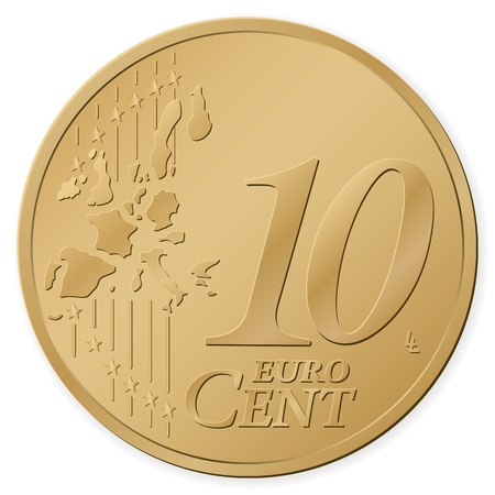 10 euro cent isolated on a white background. Vector illustration. Vector