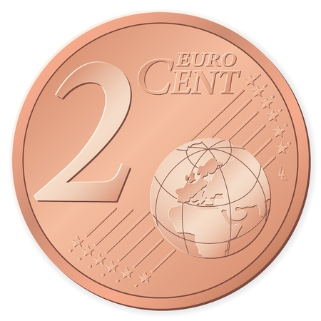 2 euro cent isolated on a white background. Vector illustration. Vector