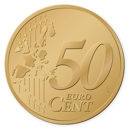 cent: 50 euro cent isolated on a white background. Vector illustration.