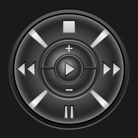 Black modern multimedia player button. Vector illustration. Vector