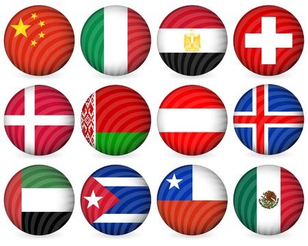 bandera de chile: Colecci�n de iconos de c�rculo nacional establecido sobre un fondo blanco. Ilustraci�n vectorial. Vectores