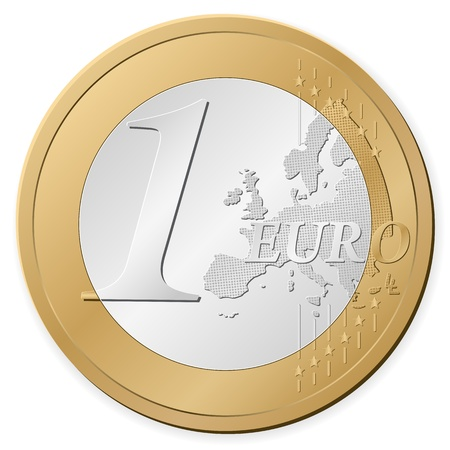 gold and silver coins: One euro coin isolated on a white background. Vector illustration. Illustration