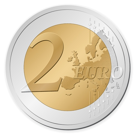 euro: Two euro coin isolated on a white background. Vector illustration.