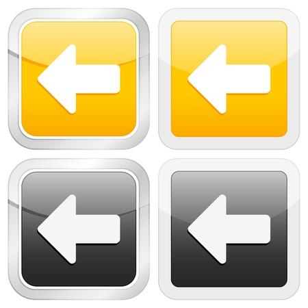 freccia icona quadrata sinistra impostato su sfondo bianco. Illustrazione vettoriale.